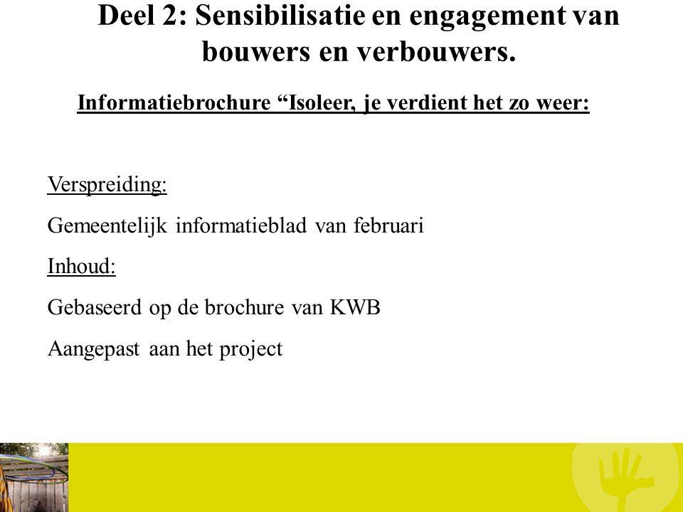 """Deel 2: Sensibilisatie en engagement van bouwers en verbouwers. Informatiebrochure """"Isoleer, je verdient het zo weer: Verspreiding: Gemeentelijk infor"""