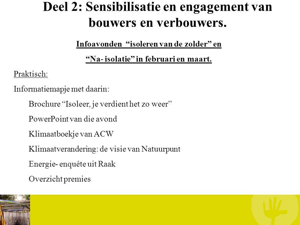 """Deel 2: Sensibilisatie en engagement van bouwers en verbouwers. Infoavonden """"isoleren van de zolder"""" en """"Na- isolatie"""" in februari en maart. Praktisch"""