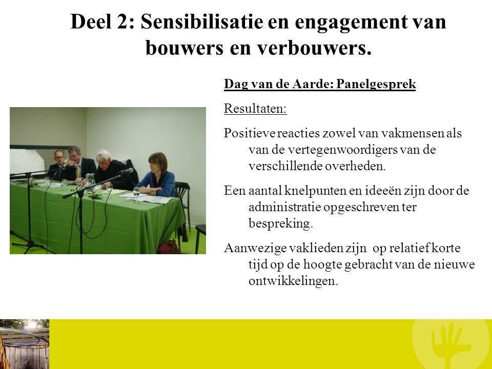 Deel 2: Sensibilisatie en engagement van bouwers en verbouwers. Dag van de Aarde: Panelgesprek Resultaten: Positieve reacties zowel van vakmensen als
