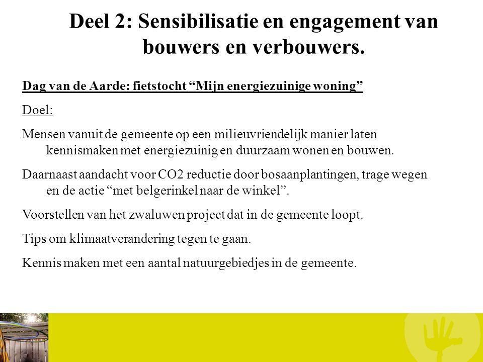 """Deel 2: Sensibilisatie en engagement van bouwers en verbouwers. Dag van de Aarde: fietstocht """"Mijn energiezuinige woning"""" Doel: Mensen vanuit de gemee"""