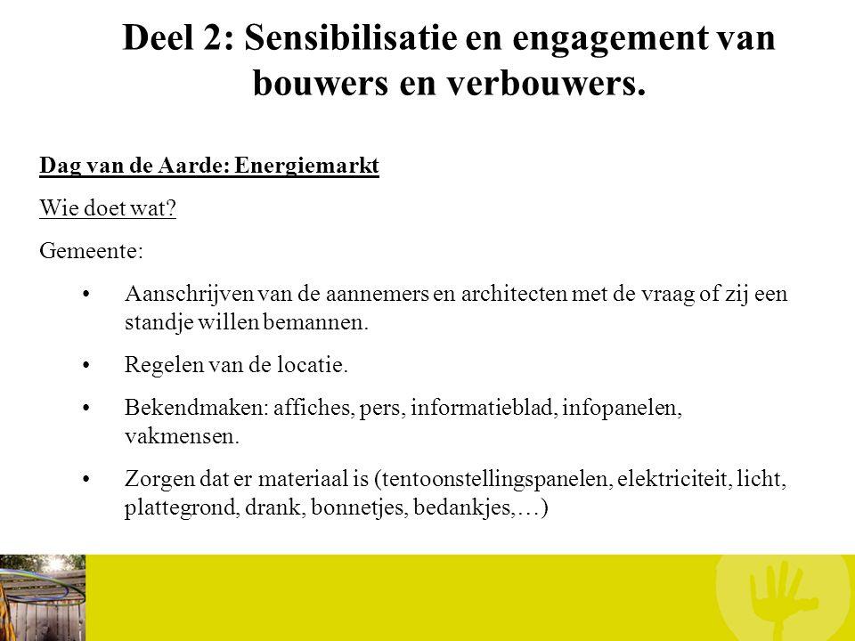Deel 2: Sensibilisatie en engagement van bouwers en verbouwers. Dag van de Aarde: Energiemarkt Wie doet wat? Gemeente: Aanschrijven van de aannemers e
