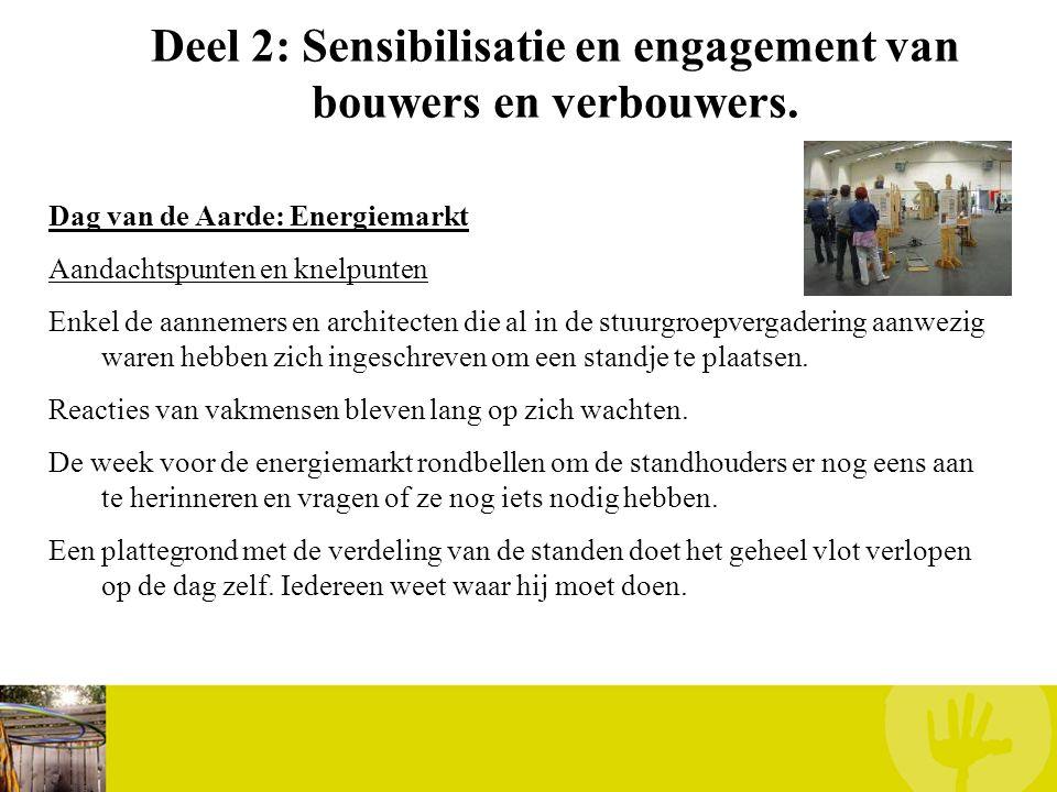 Deel 2: Sensibilisatie en engagement van bouwers en verbouwers. Dag van de Aarde: Energiemarkt Aandachtspunten en knelpunten Enkel de aannemers en arc