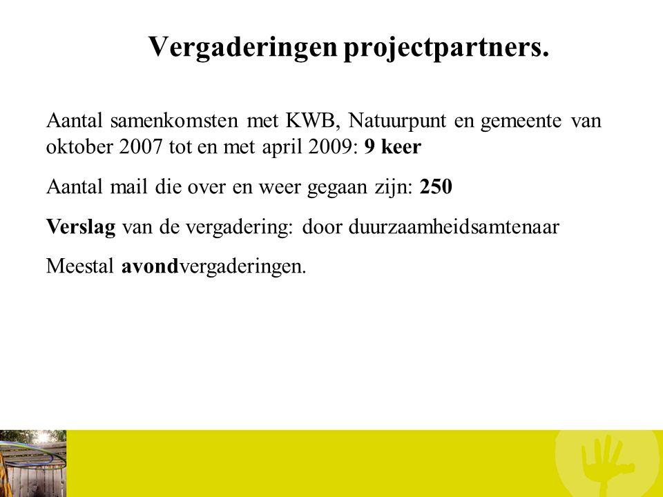 Vergaderingen projectpartners. Aantal samenkomsten met KWB, Natuurpunt en gemeente van oktober 2007 tot en met april 2009: 9 keer Aantal mail die over