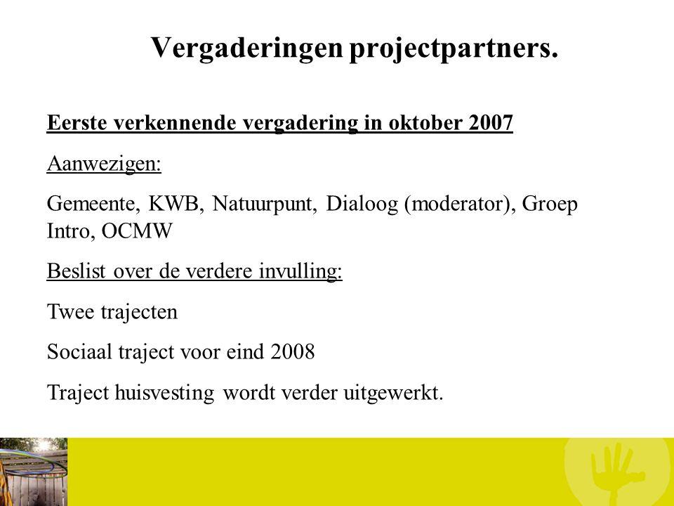 Vergaderingen projectpartners. Eerste verkennende vergadering in oktober 2007 Aanwezigen: Gemeente, KWB, Natuurpunt, Dialoog (moderator), Groep Intro,