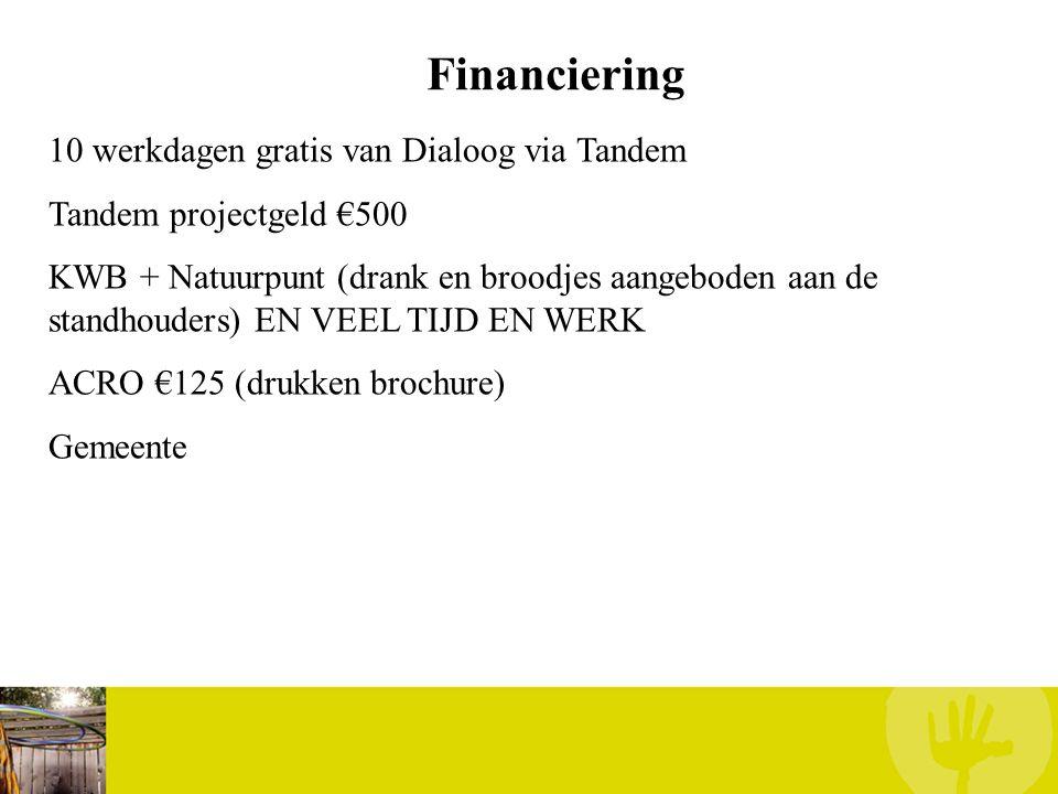 Financiering 10 werkdagen gratis van Dialoog via Tandem Tandem projectgeld €500 KWB + Natuurpunt (drank en broodjes aangeboden aan de standhouders) EN