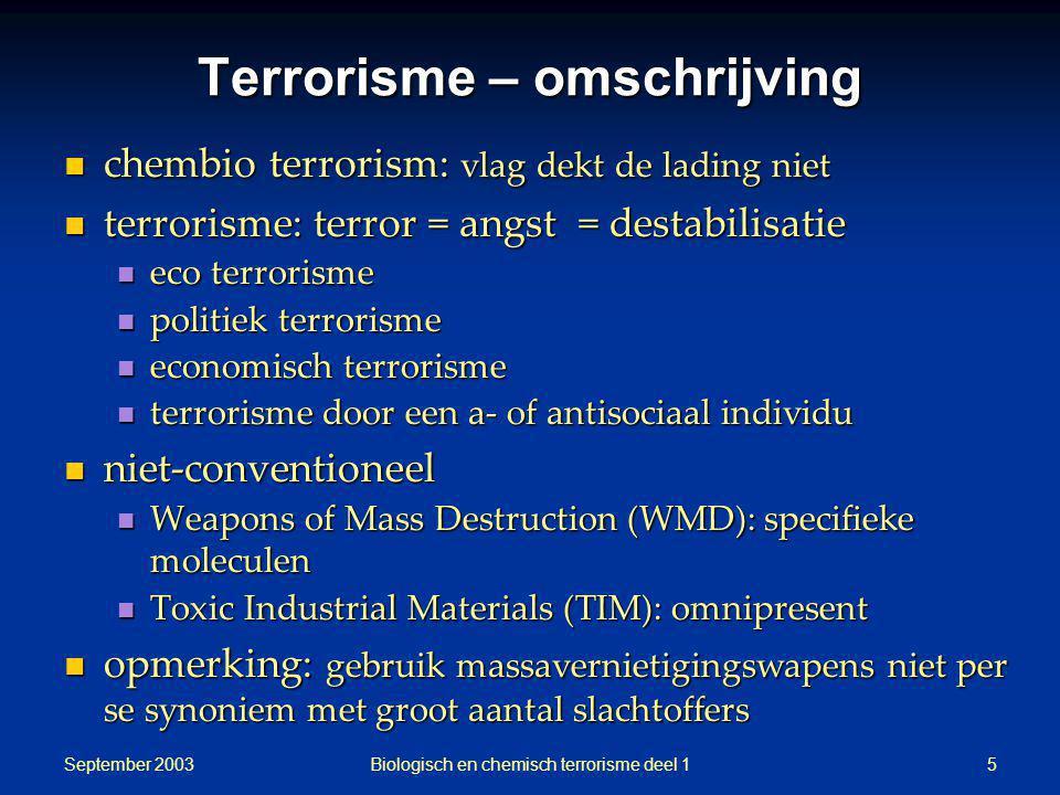 September 2003 Biologisch en chemisch terrorisme deel 15 Terrorisme – omschrijving chembio terrorism: vlag dekt de lading niet chembio terrorism: vlag