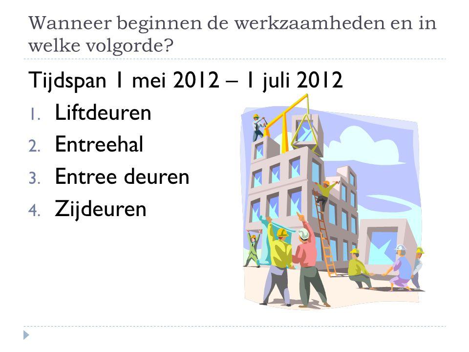 Wanneer beginnen de werkzaamheden en in welke volgorde? Tijdspan 1 mei 2012 – 1 juli 2012 1. Liftdeuren 2. Entreehal 3. Entree deuren 4. Zijdeuren