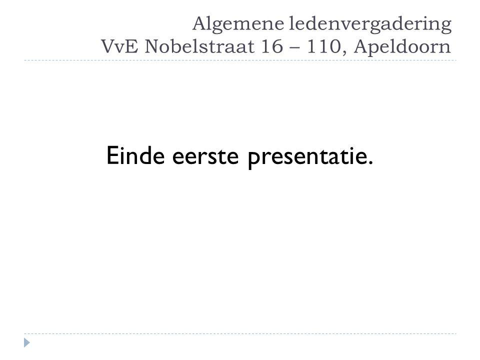 Algemene ledenvergadering VvE Nobelstraat 16 – 110, Apeldoorn Einde eerste presentatie.
