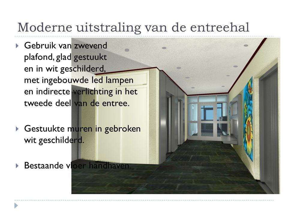 Moderne uitstraling van de entreehal  Gebruik van zwevend plafond, glad gestuukt en in wit geschilderd, met ingebouwde led lampen en indirecte verlic