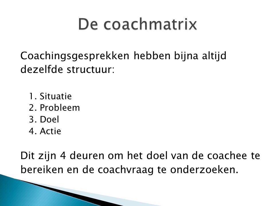 Coachingsgesprekken hebben bijna altijd dezelfde structuur: 1. Situatie 2. Probleem 3. Doel 4. Actie Dit zijn 4 deuren om het doel van de coachee te b