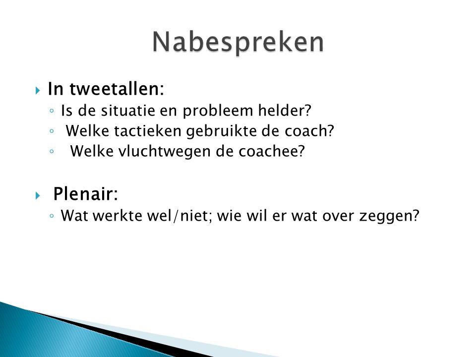  In tweetallen: ◦ Is de situatie en probleem helder? ◦ Welke tactieken gebruikte de coach? ◦ Welke vluchtwegen de coachee?  Plenair: ◦ Wat werkte we