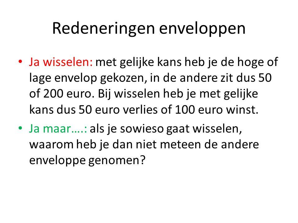 Redeneringen enveloppen Ja wisselen: met gelijke kans heb je de hoge of lage envelop gekozen, in de andere zit dus 50 of 200 euro.
