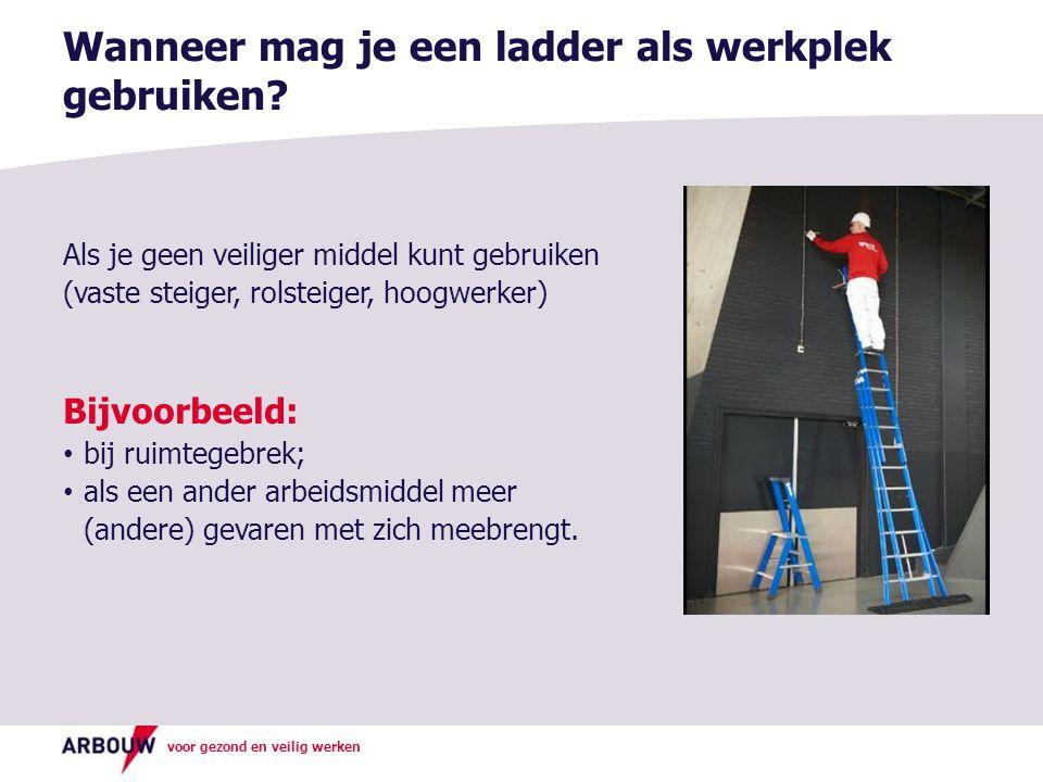 voor gezond en veilig werken Als je geen veiliger middel kunt gebruiken (vaste steiger, rolsteiger, hoogwerker) Bijvoorbeeld: bij ruimtegebrek; als een ander arbeidsmiddel meer (andere) gevaren met zich meebrengt.