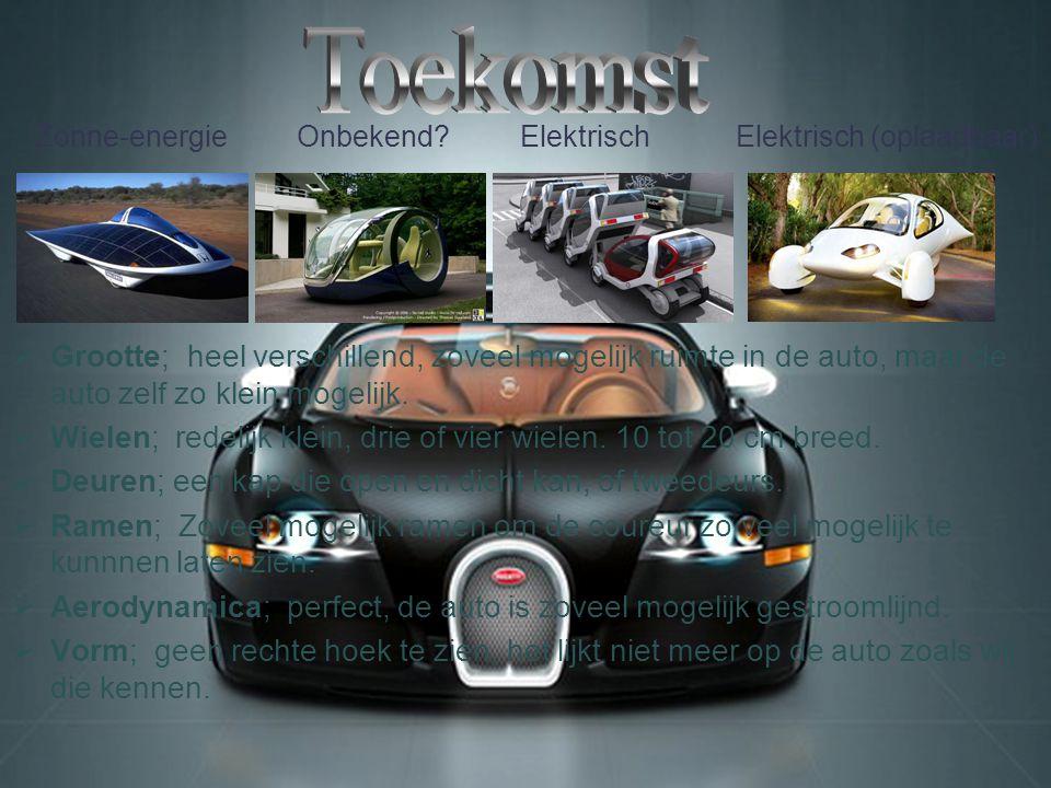 2000 2003 2006 2009  Grootte; gemiddeld, vier tot vierenhalve meter.  Wielen; brede wielen voor betere wegligging. 15 tot 25 cm breed.  Deuren; dri