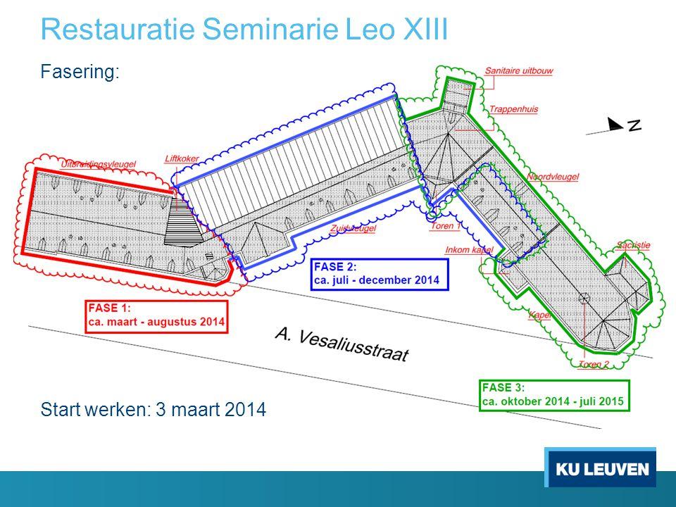 Restauratie Seminarie Leo XIII Fasering: Start werken: 3 maart 2014