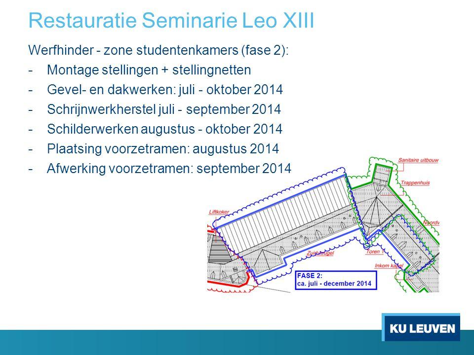 Restauratie Seminarie Leo XIII Werfhinder - zone studentenkamers (fase 2): - Montage stellingen + stellingnetten - Gevel- en dakwerken: juli - oktober