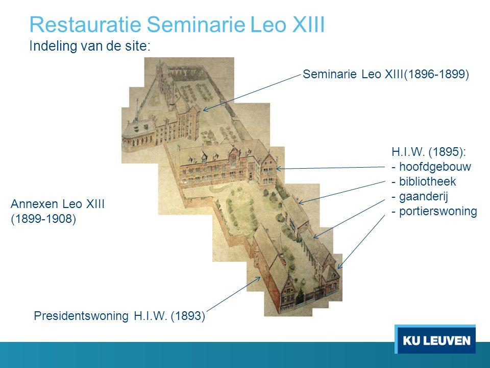 Restauratie Seminarie Leo XIII Indeling van de site: Presidentswoning H.I.W. (1893) H.I.W. (1895): - hoofdgebouw - bibliotheek - gaanderij - portiersw