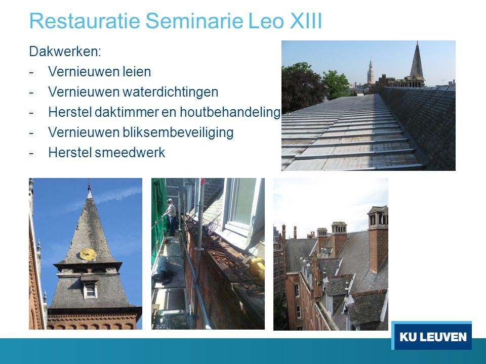 Restauratie Seminarie Leo XIII Dakwerken: - Vernieuwen leien - Vernieuwen waterdichtingen - Herstel daktimmer en houtbehandeling - Vernieuwen bliksemb