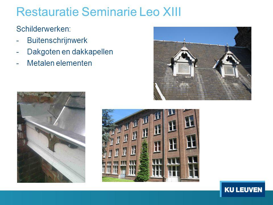 Restauratie Seminarie Leo XIII Glas-in-loodramen: - Volledige restauratie in atelier