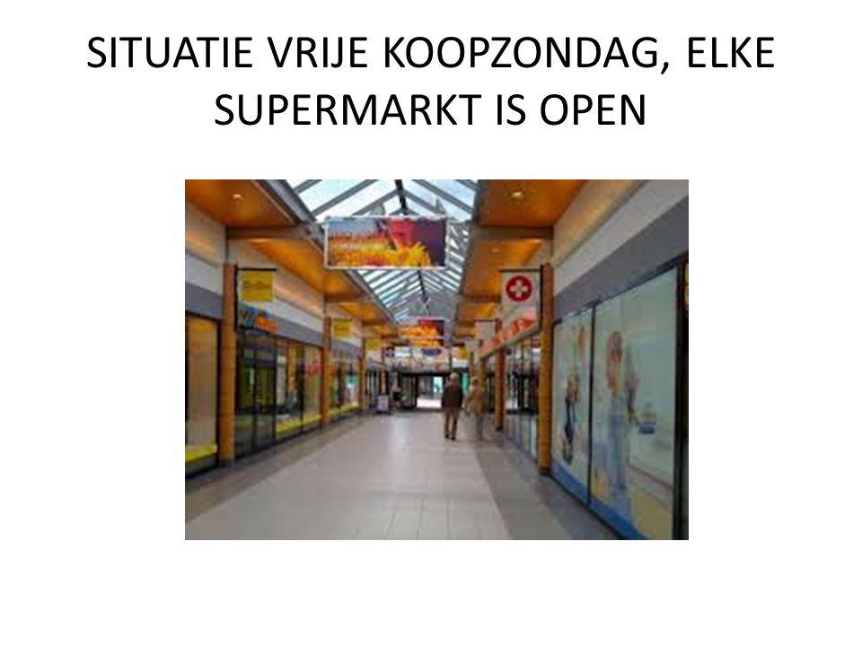 SITUATIE VRIJE KOOPZONDAG, ELKE SUPERMARKT IS OPEN