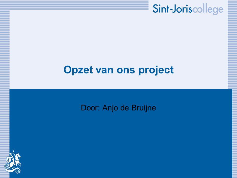 Opzet van ons project Door: Anjo de Bruijne