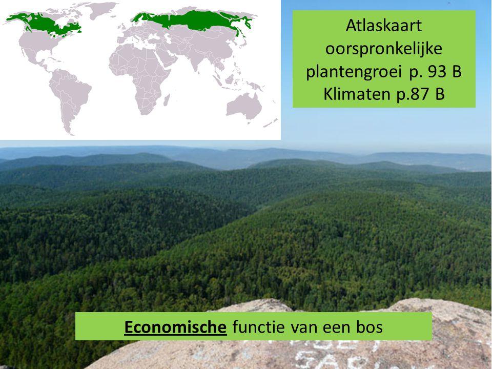Atlaskaart oorspronkelijke plantengroei p. 93 B Klimaten p.87 B Economische functie van een bos
