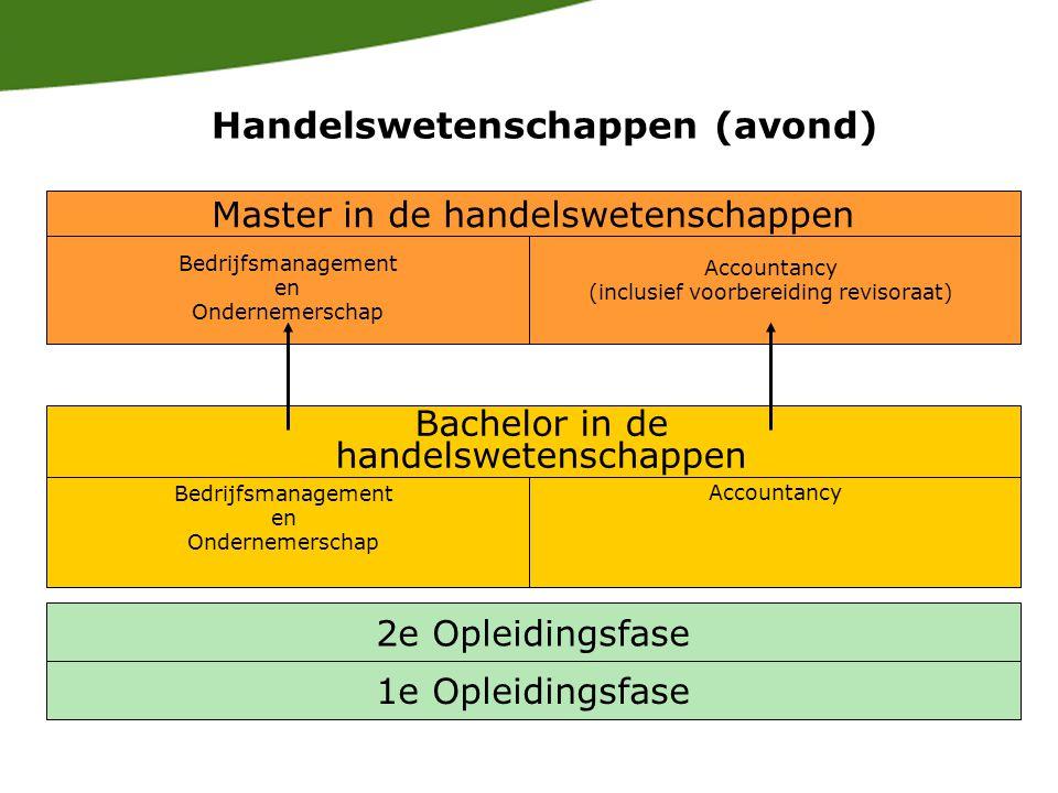1e Opleidingsfase 2e Opleidingsfase Bachelor in de handelswetenschappen Bedrijfsmanagement en Ondernemerschap Accountancy Master in de handelswetenschappen Bedrijfsmanagement en Ondernemerschap Accountancy (inclusief voorbereiding revisoraat) Handelswetenschappen (avond)
