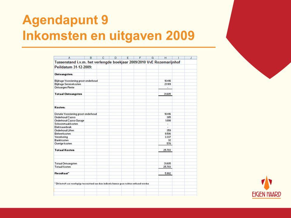 Agendapunt 9 Inkomsten en uitgaven 2009