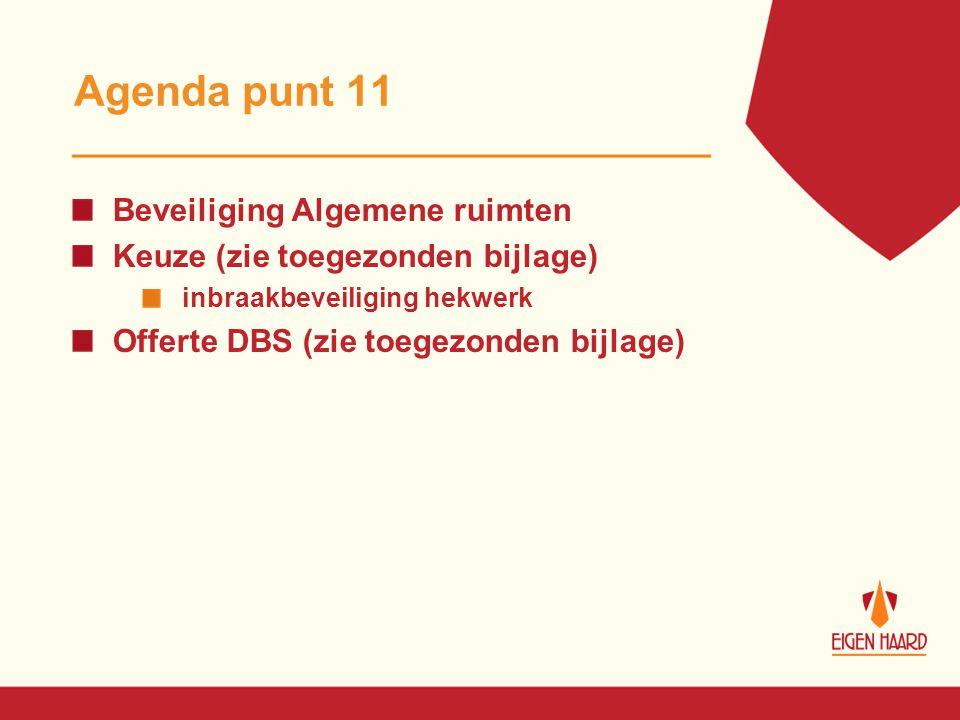 Agenda punt 11 Beveiliging Algemene ruimten Keuze (zie toegezonden bijlage) inbraakbeveiliging hekwerk Offerte DBS (zie toegezonden bijlage)
