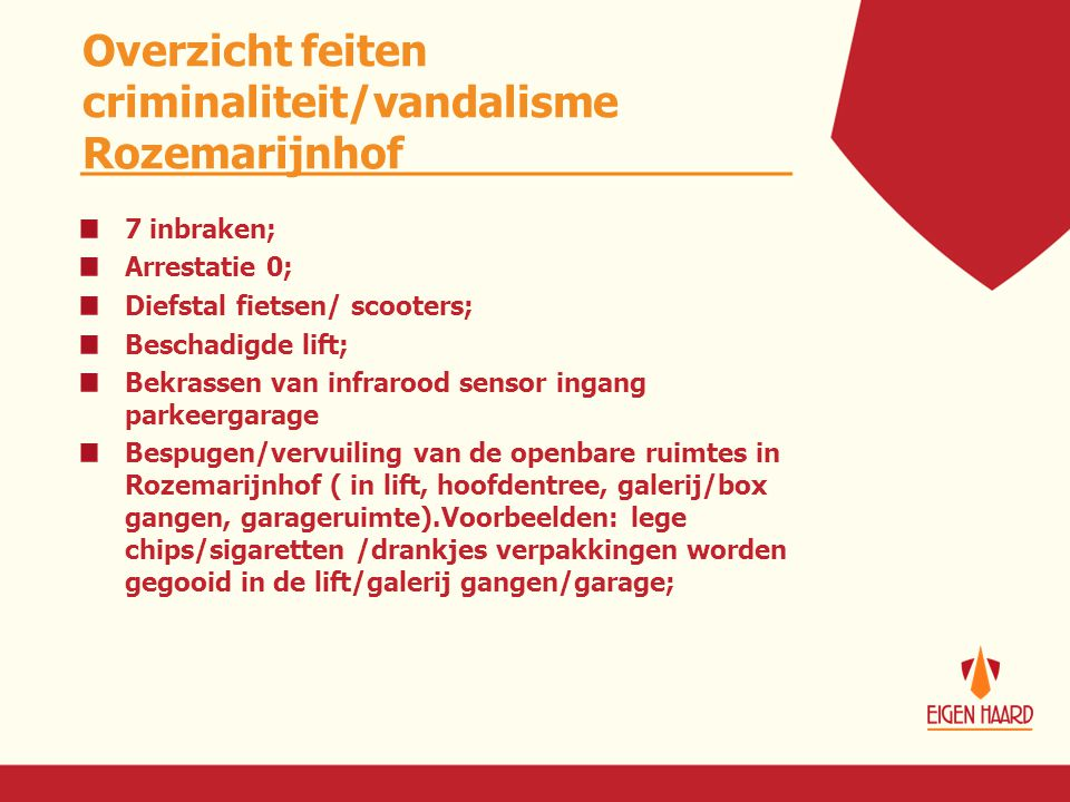 Overzicht feiten criminaliteit/vandalisme Rozemarijnhof 7 inbraken; Arrestatie 0; Diefstal fietsen/ scooters; Beschadigde lift; Bekrassen van infraroo