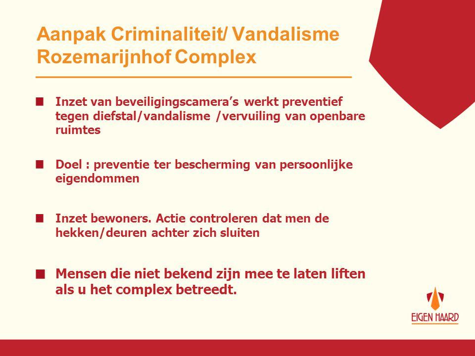 Aanpak Criminaliteit/ Vandalisme Rozemarijnhof Complex Inzet van beveiligingscamera's werkt preventief tegen diefstal/vandalisme /vervuiling van openb