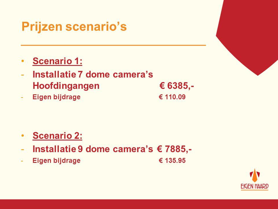 Prijzen scenario's Scenario 1: -Installatie 7 dome camera's Hoofdingangen € 6385,- -Eigen bijdrage € 110.09 Scenario 2: -Installatie 9 dome camera's €