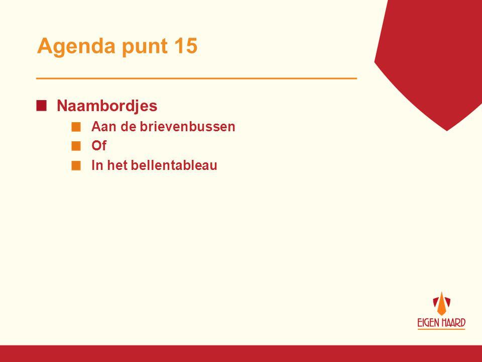 Agenda punt 15 Naambordjes Aan de brievenbussen Of In het bellentableau