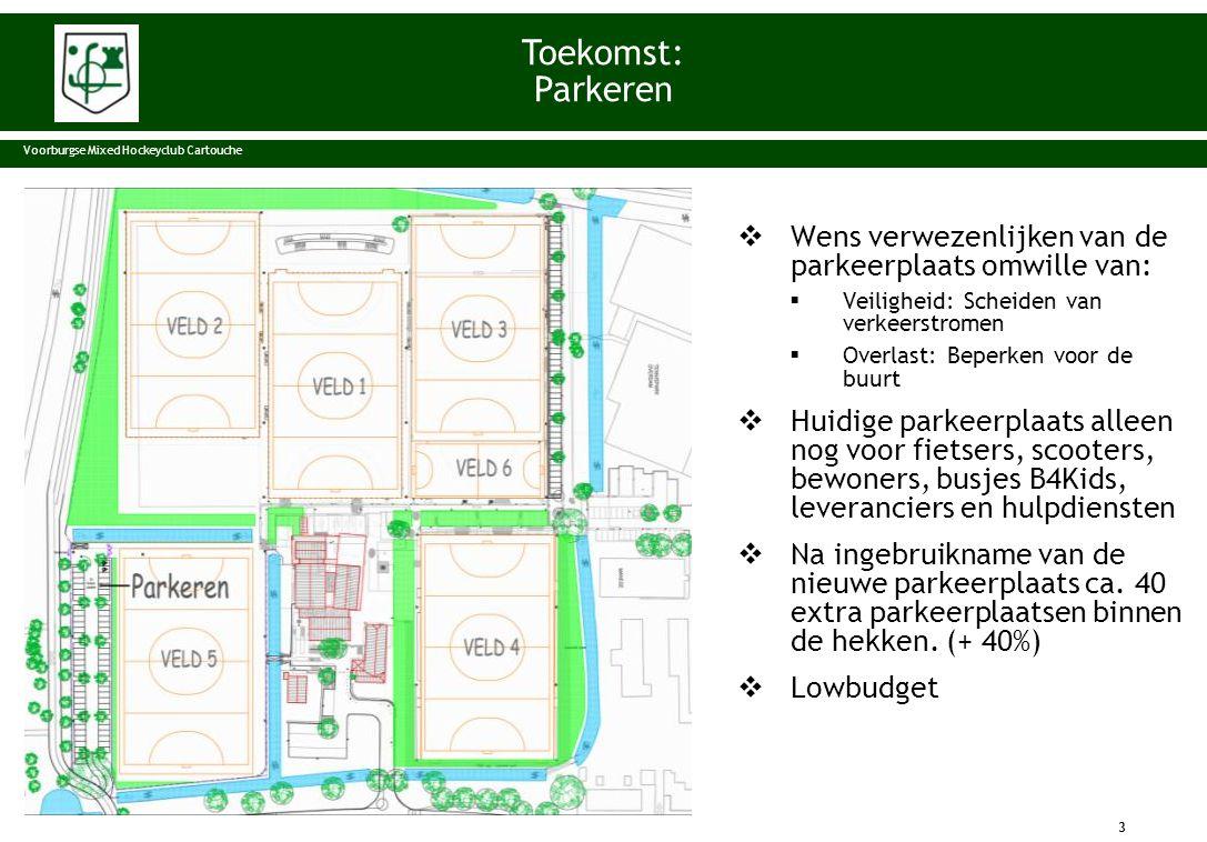  Wens verwezenlijken van de parkeerplaats omwille van:  Veiligheid: Scheiden van verkeerstromen  Overlast: Beperken voor de buurt  Huidige parkeer