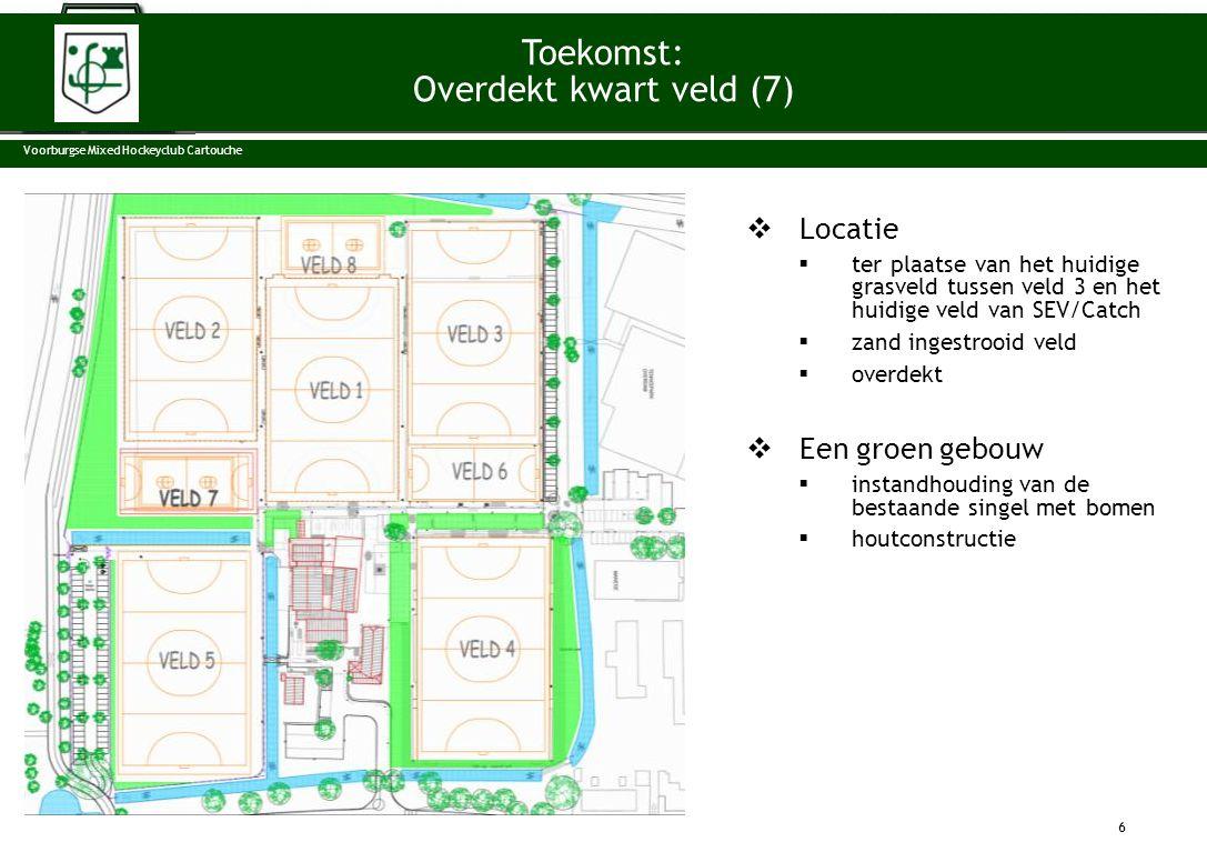  Locatie  ter plaatse van het huidige grasveld tussen veld 3 en het huidige veld van SEV/Catch  zand ingestrooid veld  overdekt  Een groen gebouw