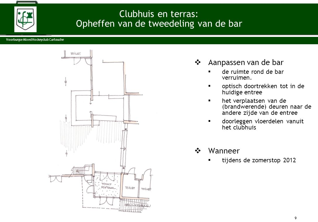  Aanpassen van de bar  de ruimte rond de bar verruimen.  optisch doortrekken tot in de huidige entree  het verplaatsen van de (brandwerende) deure