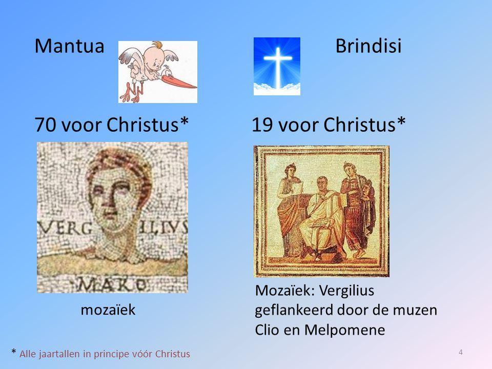 3 belangrijke werken: 5 Aeneis (19; op last van Augustus uitgegeven) Georgica (29) Bucolica / Eclogae (39)