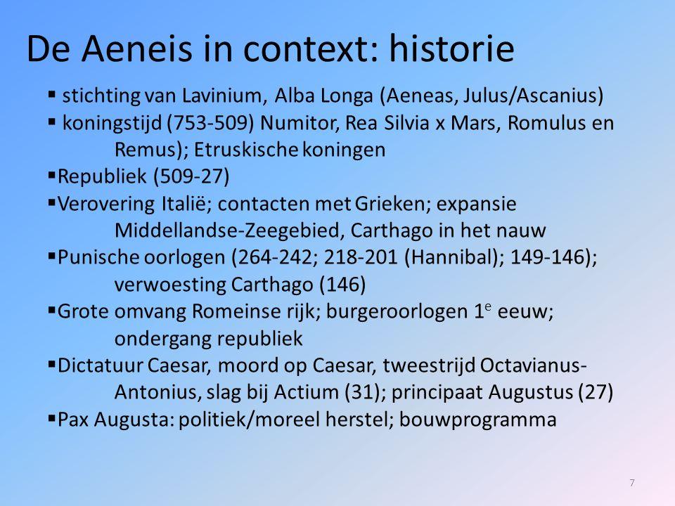 118  Anchises toont Aeneas verder nog de wat recentere geschiedenis van Rome, met heel wat bekende namen.