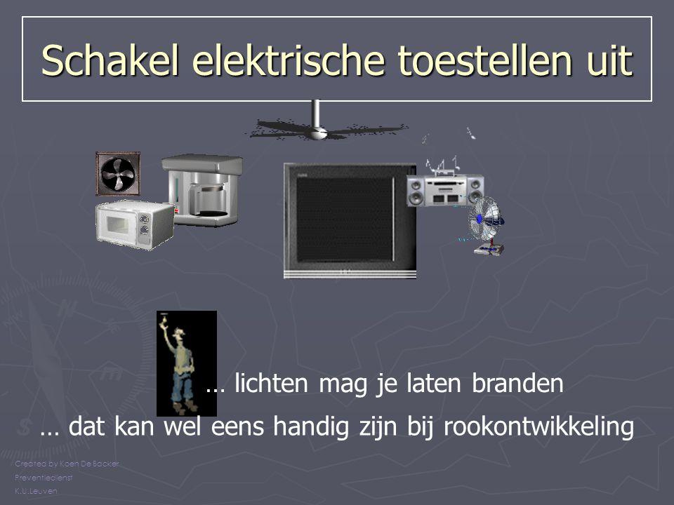 Schakel elektrische toestellen uit Created by Koen De Backer Preventiedienst K.U.Leuven … lichten mag je laten branden … dat kan wel eens handig zijn