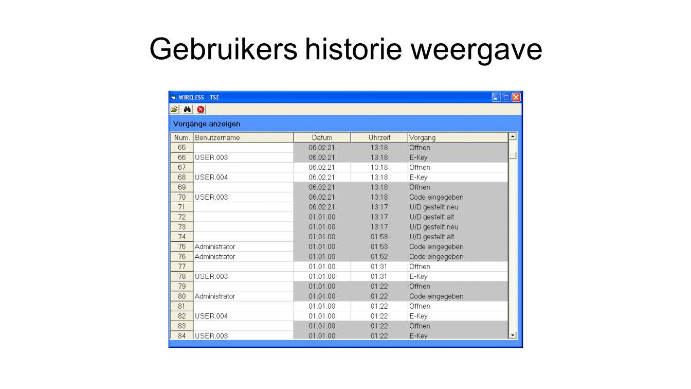 Gebruikers historie weergave