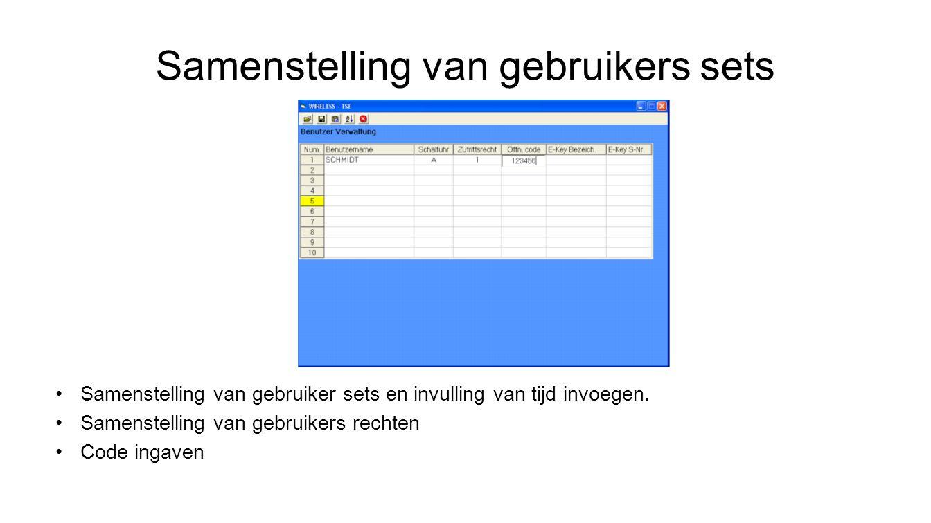 Samenstelling van gebruikers sets Samenstelling van gebruiker sets en invulling van tijd invoegen.
