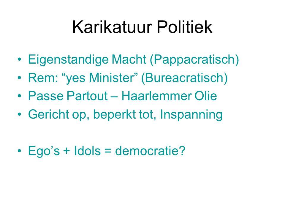 """Karikatuur Politiek Eigenstandige Macht (Pappacratisch) Rem: """"yes Minister"""" (Bureacratisch) Passe Partout – Haarlemmer Olie Gericht op, beperkt tot, I"""