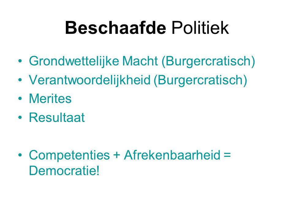 Beschaafde Politiek Grondwettelijke Macht (Burgercratisch) Verantwoordelijkheid (Burgercratisch) Merites Resultaat Competenties + Afrekenbaarheid = De