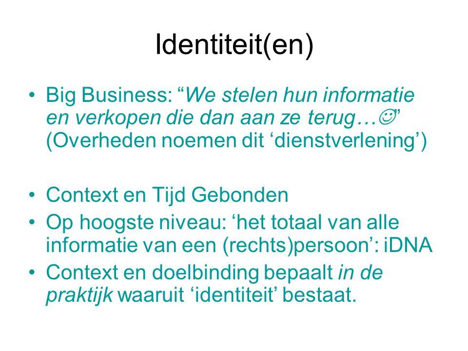 """Identiteit(en) Big Business: """"We stelen hun informatie en verkopen die dan aan ze terug… """" (Overheden noemen dit 'dienstverlening') Context en Tijd Ge"""