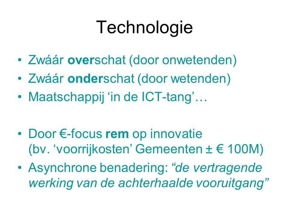Technologie Zwáár overschat (door onwetenden) Zwáár onderschat (door wetenden) Maatschappij 'in de ICT-tang'… Door €-focus rem op innovatie (bv. 'voor