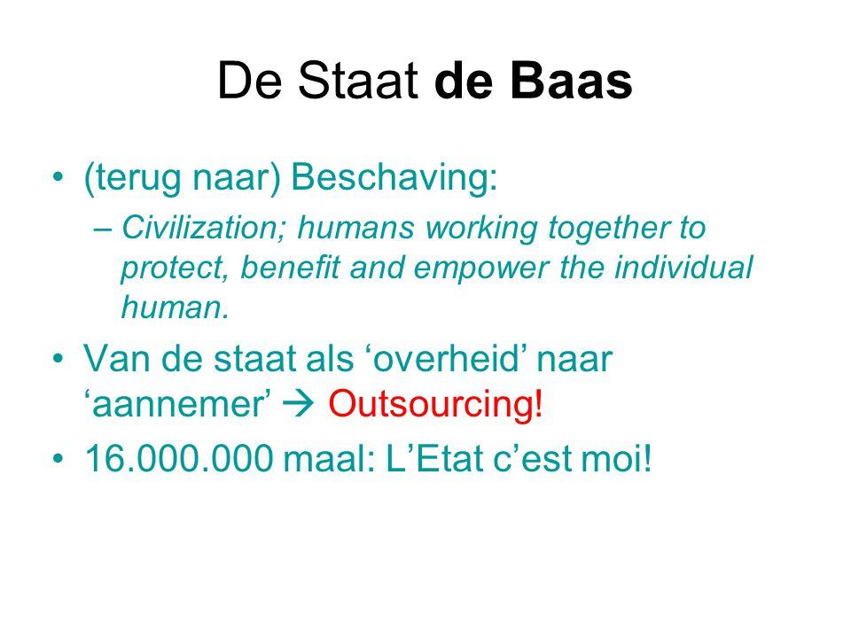 De Staat de Baas (terug naar) Beschaving: –Civilization; humans working together to protect, benefit and empower the individual human. Van de staat al