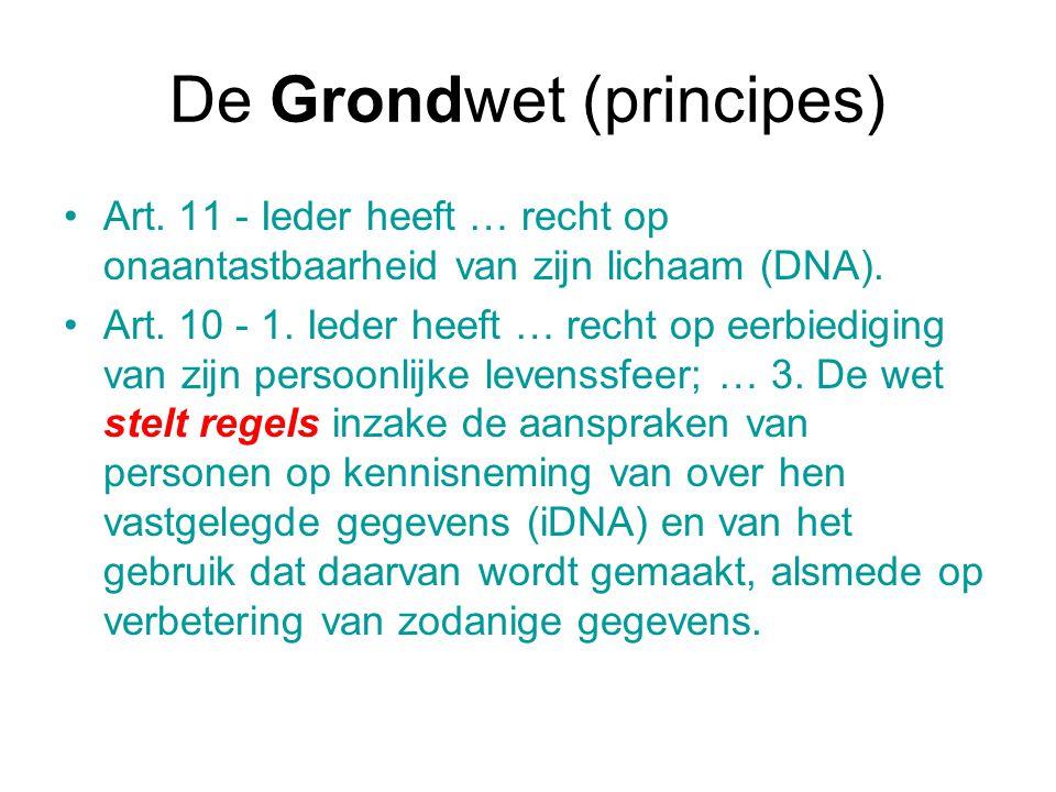 De Grondwet (principes) Art. 11 - Ieder heeft … recht op onaantastbaarheid van zijn lichaam (DNA). Art. 10 - 1. Ieder heeft … recht op eerbiediging va