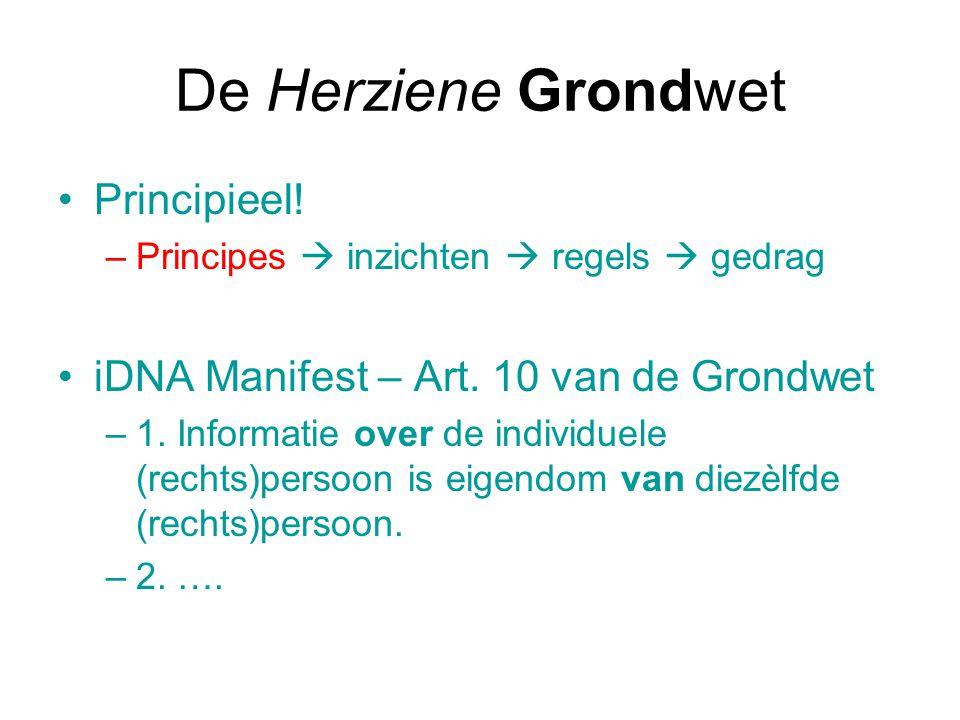 De Herziene Grondwet Principieel! –Principes  inzichten  regels  gedrag iDNA Manifest – Art. 10 van de Grondwet –1. Informatie over de individuele