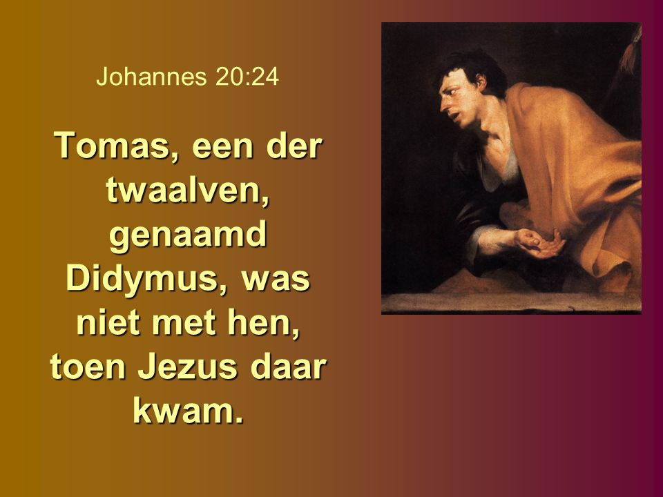 Tomas, een der twaalven, genaamd Didymus, was niet met hen, toen Jezus daar kwam. Johannes 20:24 Tomas, een der twaalven, genaamd Didymus, was niet me