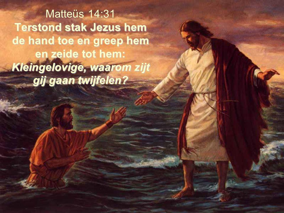Terstond stak Jezus hem de hand toe en greep hem en zeide tot hem: Kleingelovige, waarom zijt gij gaan twijfelen? Matteüs 14:31 Terstond stak Jezus he